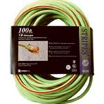 Extension Cord, Extra Rugged, 100 Foot, 12/3, Lighted Ends, High Visibity Green with Red Stripe