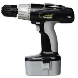 "Cordless Drill, 18 Volt, 3/8"" Keyless Chuck, Multiple Torque Settings, with Battery and Charger"