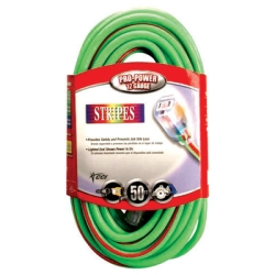 Extension Cord, Extra Rugged, 50 Foot, 12/3, Lighted Ends, High Visibity Green with Red Stripe