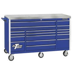 "72"" 17 Drawer Triple Bank Roller Cabinet - Blue"