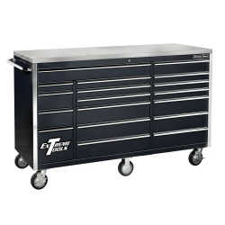 "72"" 18 Drawer Triple Bank Roller Cabinet - Black"