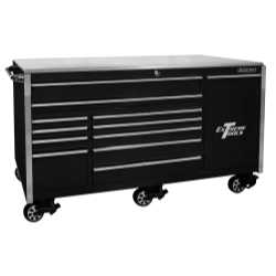 "76"" 12 Drawer Professional Roller Cabinet, Black"