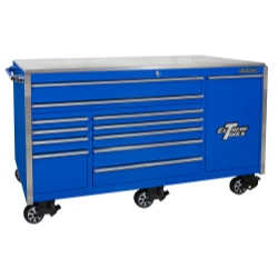 "76"" 12 Drawer Professional Roller Cabinet, Blue"