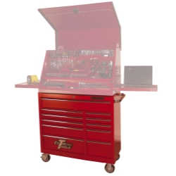 "41"" Deluxe 11 Drawer 24"" Deep Roller Cabinet - Red"