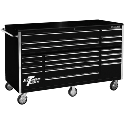 "72"" 19 Drawer Roller Cabinet, Black"