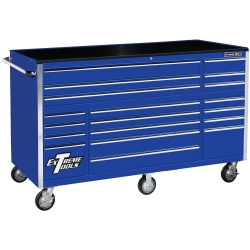 "72"" 19 Drawer Roller Cabinet, Blue"
