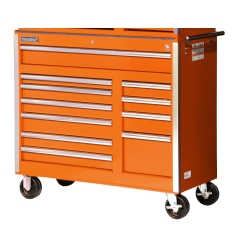 42 in. 11 Drawer Cabinet with Roller Bearing Slides - Orange