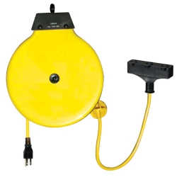 Retractable Extension Cord Reel with 30' Yellow Cord and Tri-Tap Indoor Plug