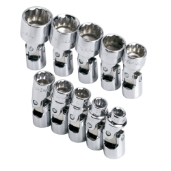 "10 Piece 1/4"" Drive 12 Point Metric Flex Socket Set"