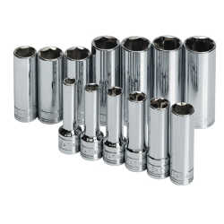 "13 Piece 3/8"" Drive 6 Point Metric Deep and Extra Deep Socket Set"