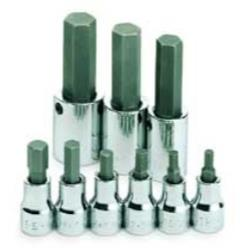 "9 Piece 3/8"" and 1/2"" Drive Fractional Socket Hex Bit Set"