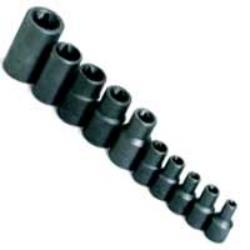 "10 Piece 1/4"", 3/8"" and 1/2"" Drive Female TORX Socket Set"