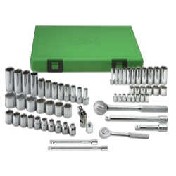 "62 Piece 1/4"" and 3/8"" Drive 6 Point Metric Standard and Deep Socket Set"