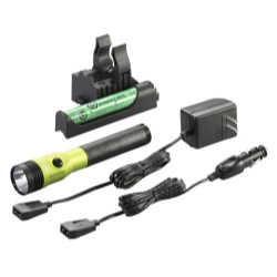 Stinger® LED HL Rechargeable Flashlight - 120/DC, PiggyBack Holder - Lime