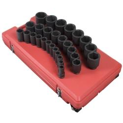 "29 Piece 3/4"" Drive 6 Point SAE Deep Impact Socket Set"