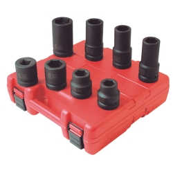 "8 Piece 1"" Drive SAE and Metric Wheel Service Impact Socket Set"