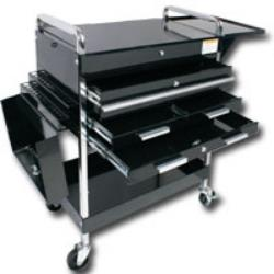 Deluxe Service Cart With Locking Top, 4 Drawers and extra storage - Black