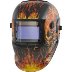 Solar Powered Auto Darkening Welding Helmet with Flame Design